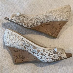 Lace White Wedges